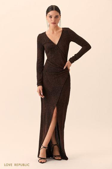 Платье макси бронзового цвета сразрезом 94527510531