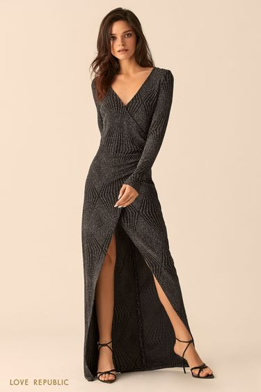Платье макси чёрного цвета сразрезом 9452751531