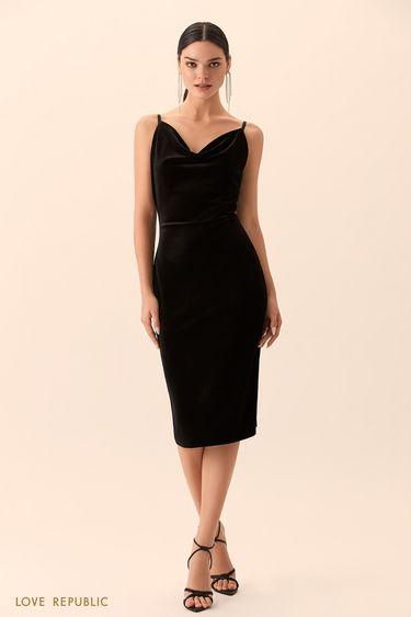 Приталенное платье чёрного цвета с драпировкой 9452757551