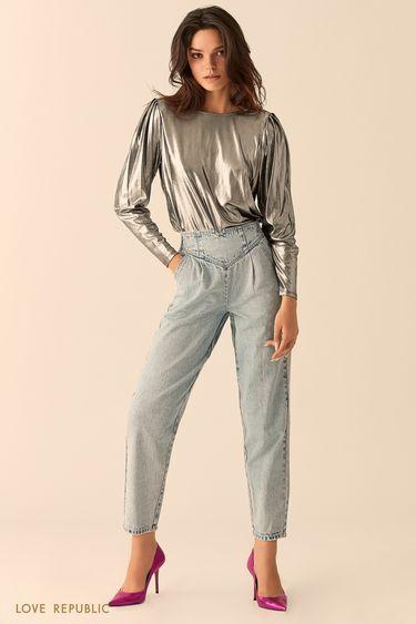 Блестящая блузка с объёмными рукавами 9452761314
