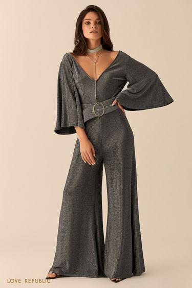 Комбинезон серебряного цвета сширокими брюками 94527630713