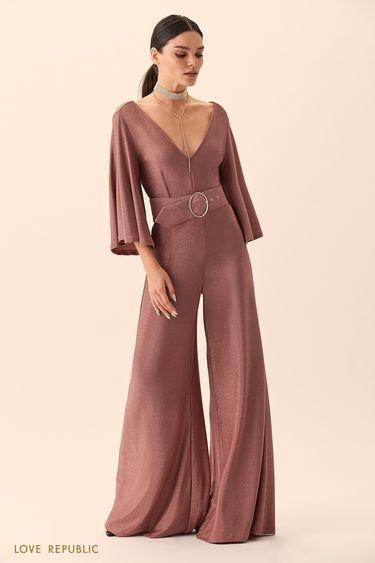 Комбинезон пыльно-розового цвета сширокими брюками 94527630713