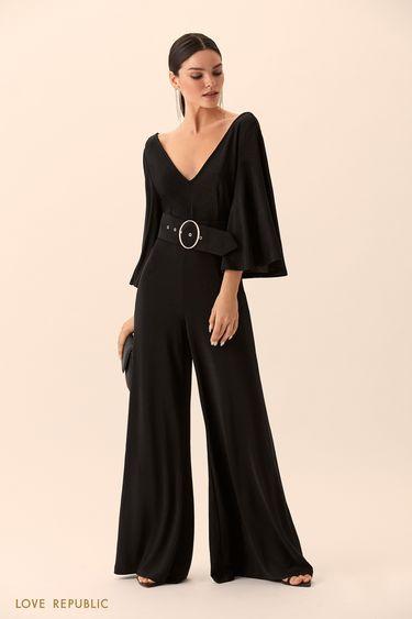 Комбинезон чёрного цвета сширокими брюками 9452763713