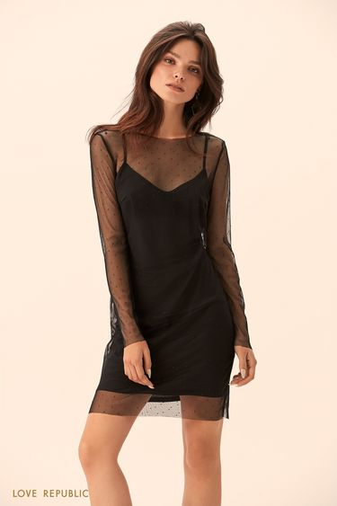 Короткое платье со стразами 9452768558