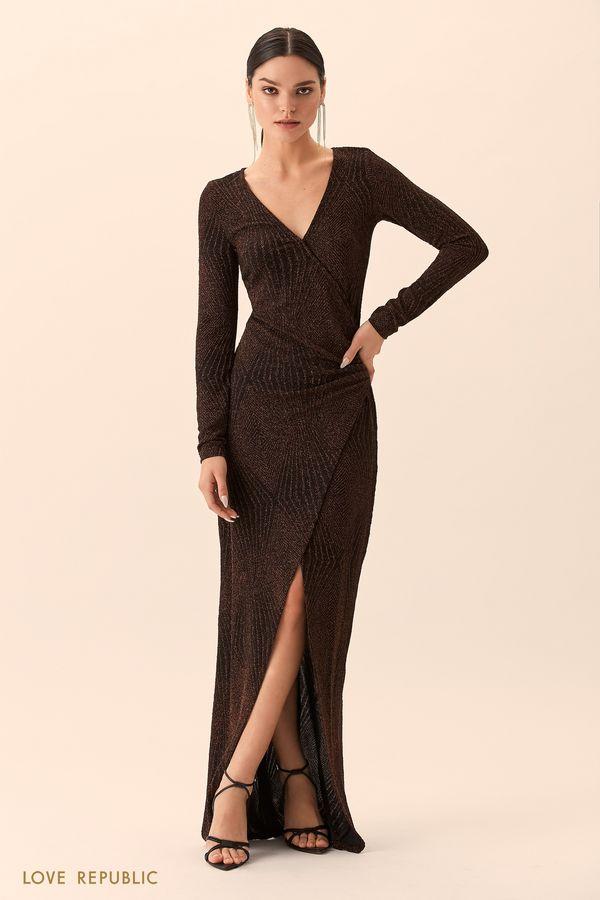 Платье макси бронзового цвета сразрезом 94527510531-29