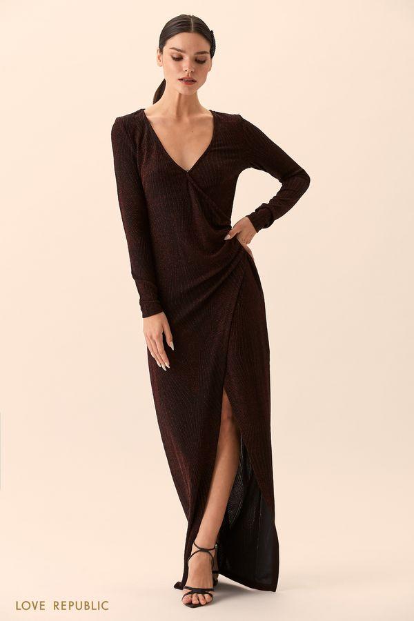 Платье макси чёрного цвета сразрезом 9452751531-50