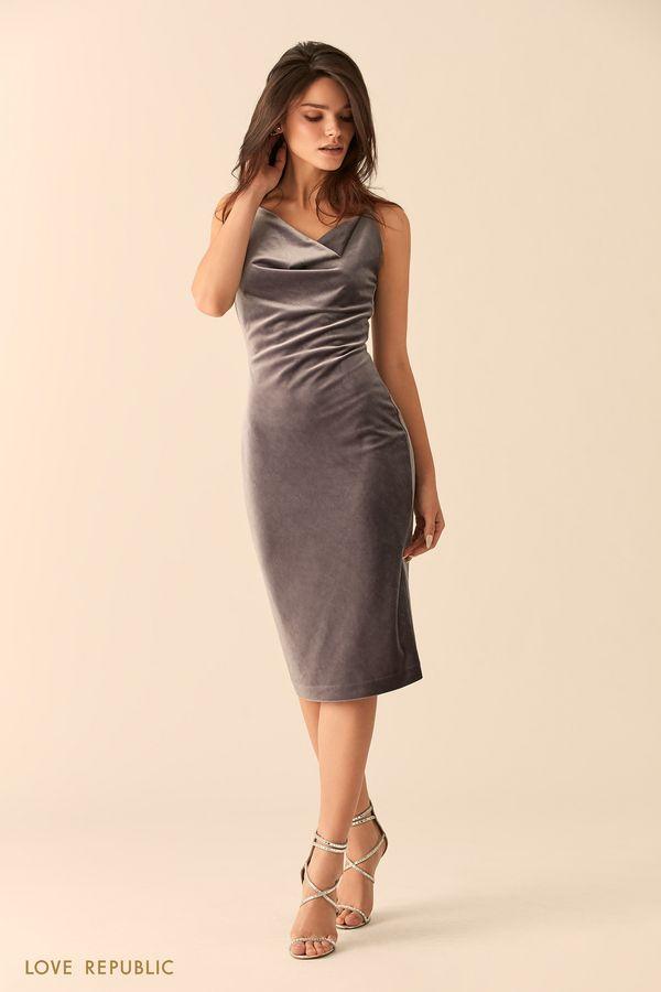 Открытое платье серебристого цвета с драпировками 94527570551-31