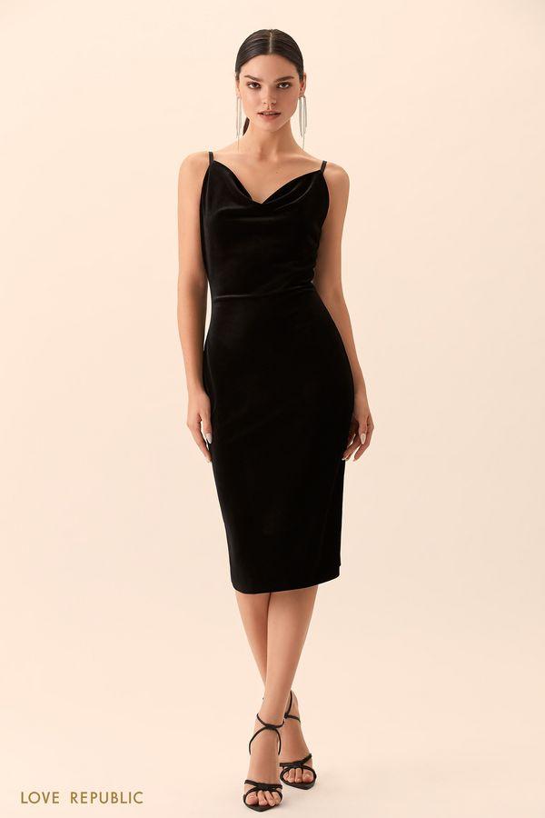 Приталенное платье чёрного цвета с драпировкой 9452757551-50
