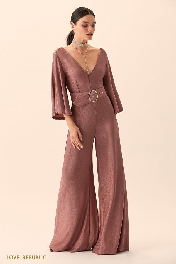 Комбинезон пыльно-розового цвета сширокими брюками 94527630713-93