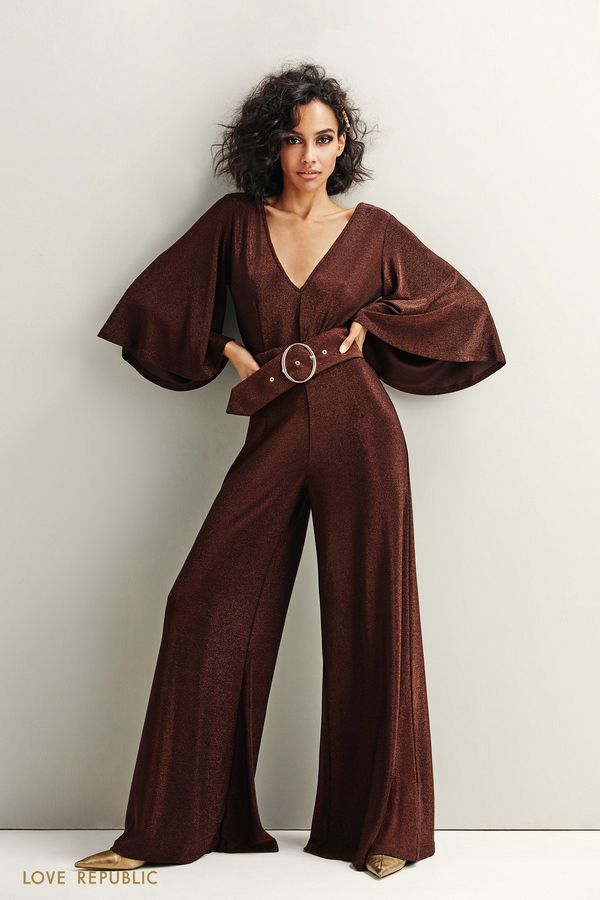 Комбинезон бронзового цвета сширокими брюками 9452763713-29