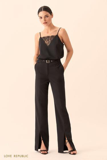 Чёрные брюки с разрезами внизу 9452815705