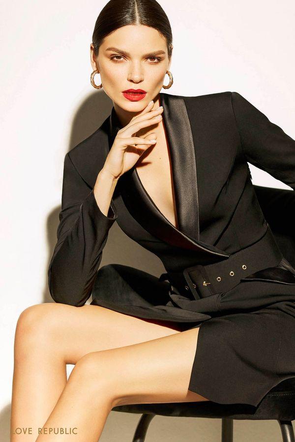 Платье-смокинг с атласными лацканами 9452822557-50