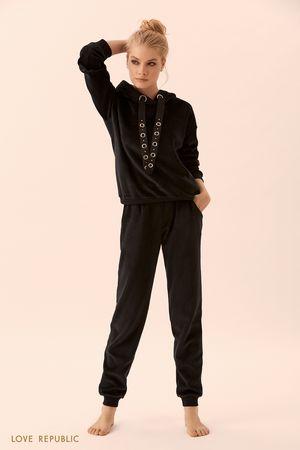 Домашние брюки чёрного цвета с эластичным поясом